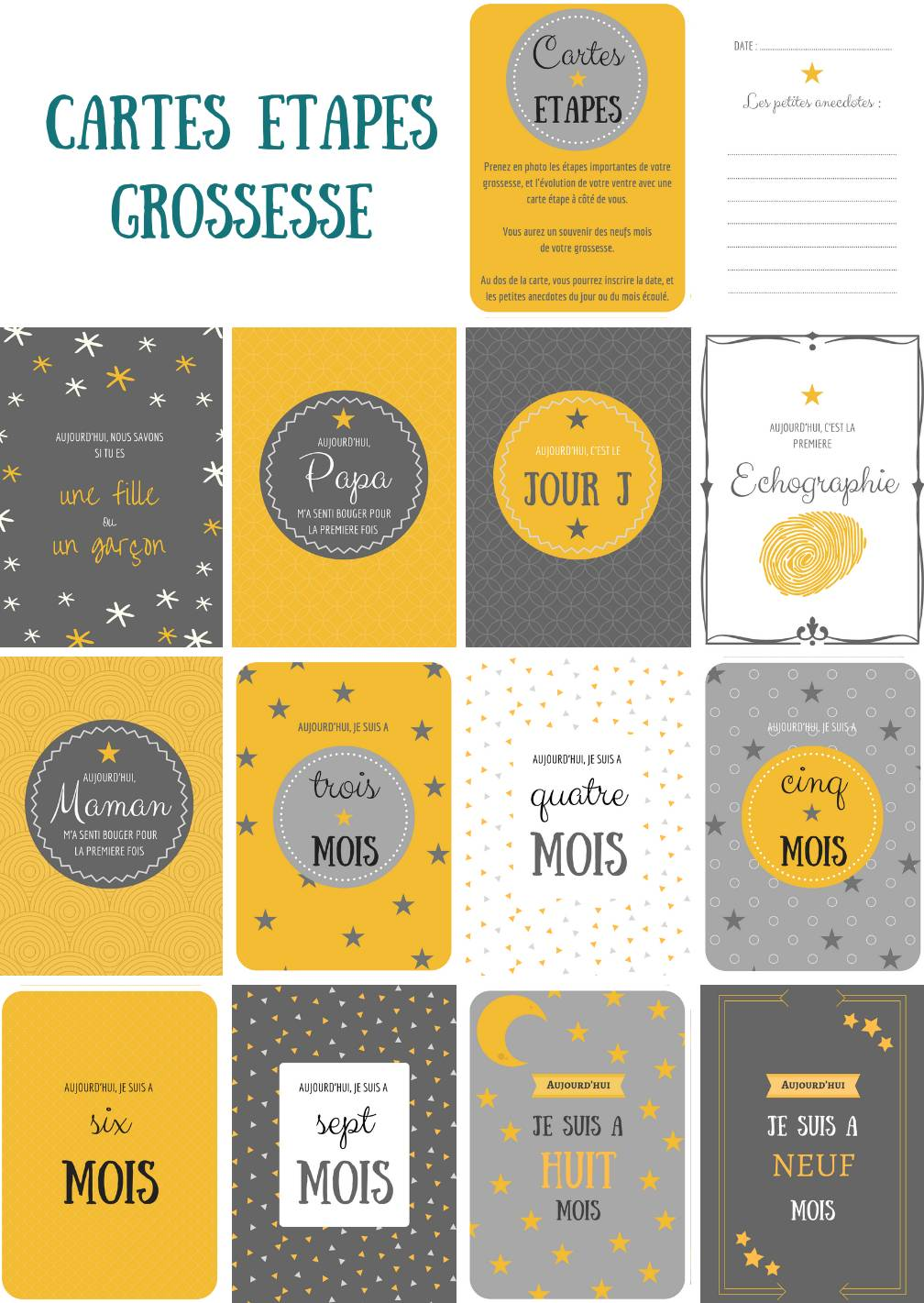 Lot 12 cartes étapes Grossesse - Naïris