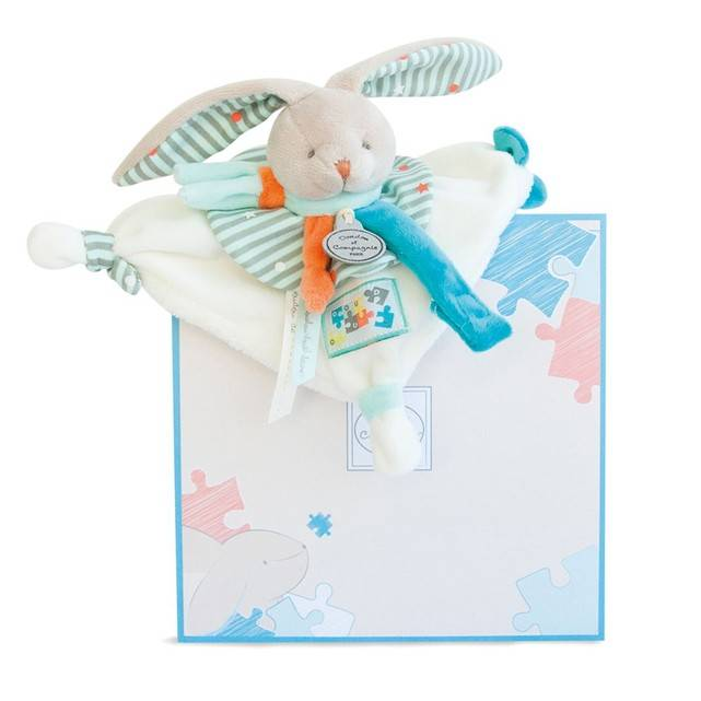 Doudou Attache Sucette Lapin Happy - Doudou & Compagnie